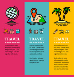 travel related banners with color outline icons vector image vector image