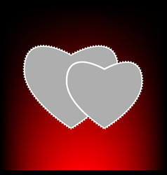 two hearts style vector image