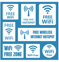 wireless free signs set wifi icons vector image vector image