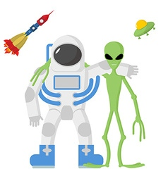 Astronaut and alien friends on a white background vector image vector image