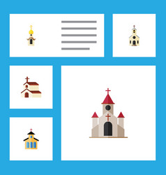 flat icon church set of building structure vector image