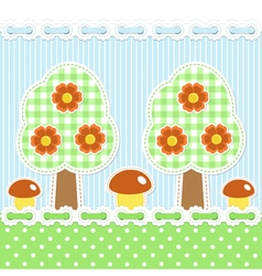 Summer forest background with mushrooms vector image