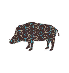 boar wildlife color silhouette animal vector image