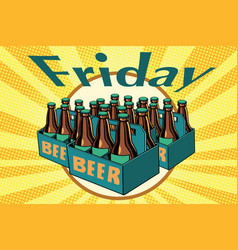 friday and a lot of beer vector image vector image