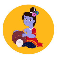 little baby lord krishna plays on flute vector image vector image