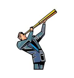 Man holding telescope vector