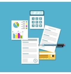 Office workplace paperwork analytics flat vector