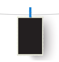Photo hanging on a line isolated on white vector image