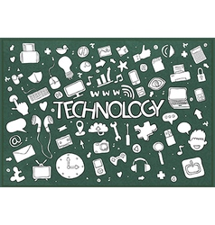 Social network background with media technology vector image