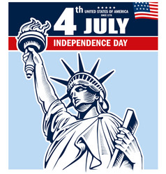 statue of liberty nyc usa independence day vector image