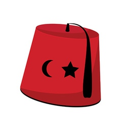 Turkish hat with star and crescent vector image vector image