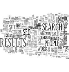 why seo is like exercise text word cloud concept vector image vector image