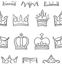 art crown sketch pattern vector image