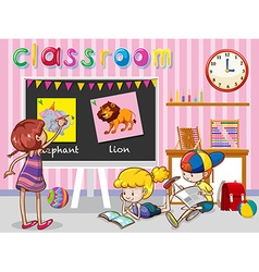 Children reading and painting in classroom vector image