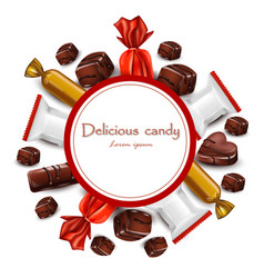 delicious chocolates candy round card vector image vector image
