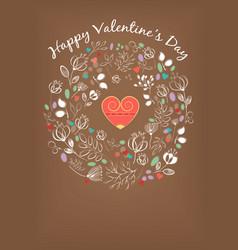 happy valentine day floral pattern vintage card vector image vector image