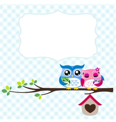 owl family spring vector image vector image