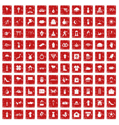 100 flowers icons set grunge red vector image