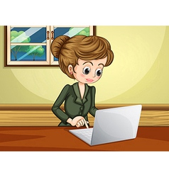 A lady using the laptop near the window vector