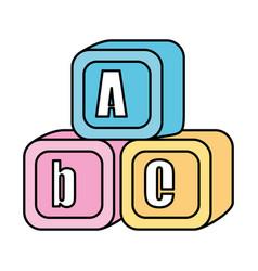 alphabet blocks toys icons vector image