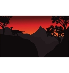 At sunset silhouette parasaurolophus in cliff vector