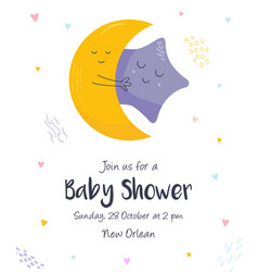 Baby shower invitation card with cute moon star vector
