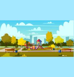 Background of cartoon playground in park vector