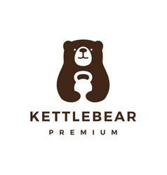 Bear gym kettlebell fitness logo icon vector