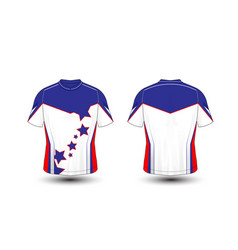 Blue white and red layout sport t-shirt kits vector