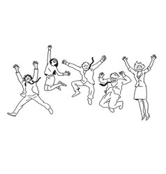 Business people men and women jumping for joy vector