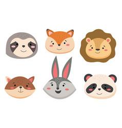 cartoon avatar cute wild animals collection vector image