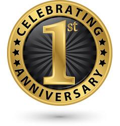 Celebrating 1st anniversary gold label vector