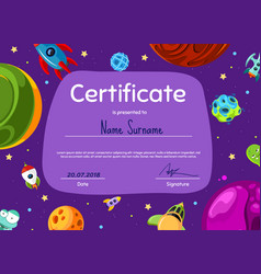Children diploma or certificate with vector