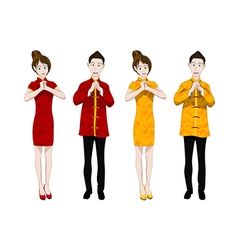 Chinese New Year People Greeting vector