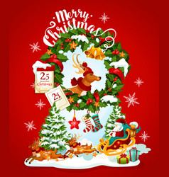 christmas holiday banner with santa and reindeer vector image