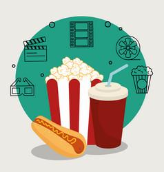Cinema food with set cinema icons vector
