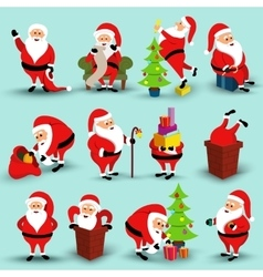 Collection of Christmas smiling Santa Claus vector