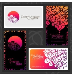 Colorful decorative design business card vector
