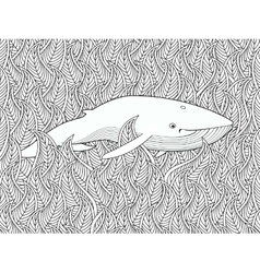 Coloring page with whale in the floral sea vector