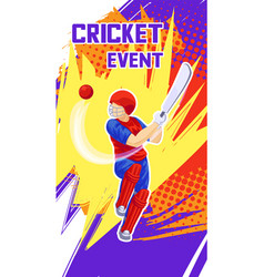 cricket event concept banner cartoon style vector image