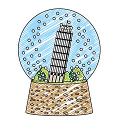 Doodle leaning tower of pisa inside snow glass vector