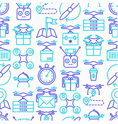 drone delivery seamless pattern vector image
