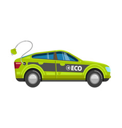eco green car electrical vehicle with charge vector image
