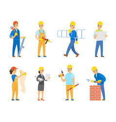 engineers and builders with tools and instruments vector image