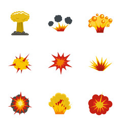Explosion effect icons set flat style vector