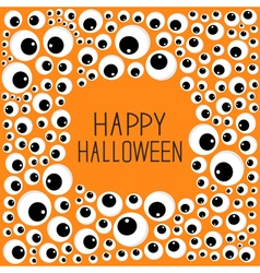 Eyes frame Halloween card Spooky orange background vector