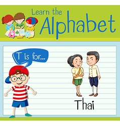 Flashcard letter T is for Thai vector image