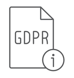 gdpr info thin line icon personal and privacy vector image
