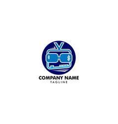 Geek television logo template design geek tv vector
