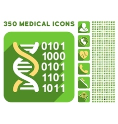 Genome Code Icon and Medical Longshadow Icon Set vector